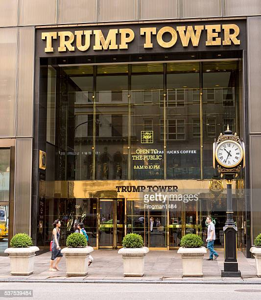 trump tower entrance - trump tower fifth avenue manhattan stock photos and pictures