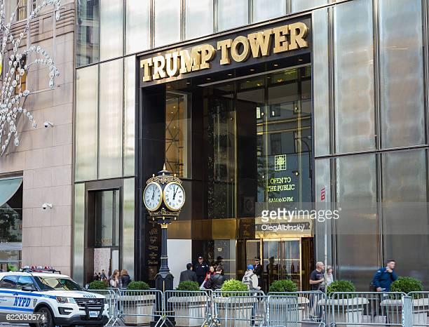 ニューヨーク州マンハッタンの5番街、nyc警察が警備するトランプタワー。 - president ストックフォトと画像