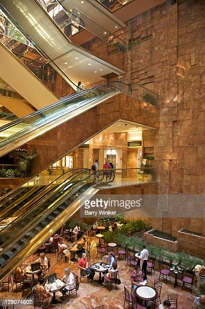 Trump Tower, interior, showing escalators and cafe, New York, NY