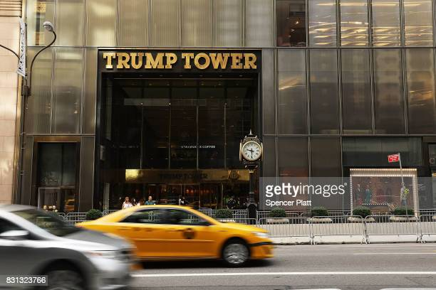 Trump Tower stands along Fifth Avenue on August 14 2017 in New York City Security throughout the area is high as President Donald Trump is expected...