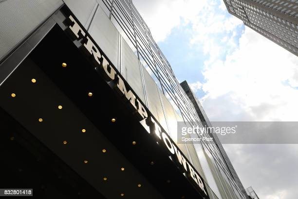 Trump Tower stands in lower Manhattan after it reopened following the departure of US President Donald Trump on August 16 2017 in New York City...
