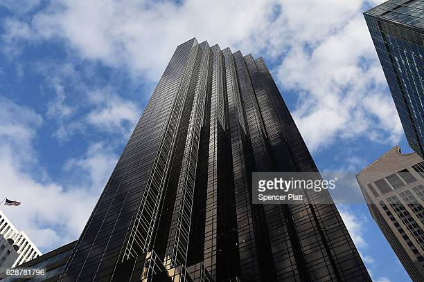 Trump Tower stands in Manhattan as US Rep Carolyn Maloney and New York Congressman Jerry Nadler hold a news conference to request more money from the...