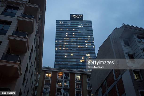 Trump Towers Istanbul are seen overlooking a residential area of Sisli District on November 29 2016 in Istanbul Turkey US Presidentelect Donald Trump...