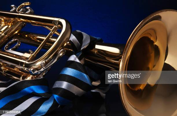 trumpet and tie - ian gwinn stock pictures, royalty-free photos & images