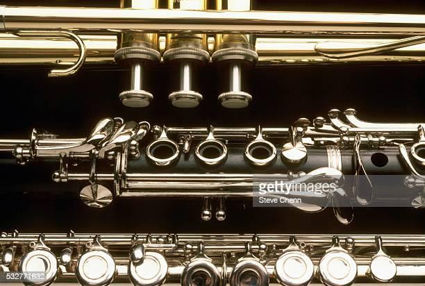 trumpet, clarinet, and flute - clarinetto foto e immagini stock