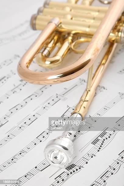 トランペット奏者のクローズアップ