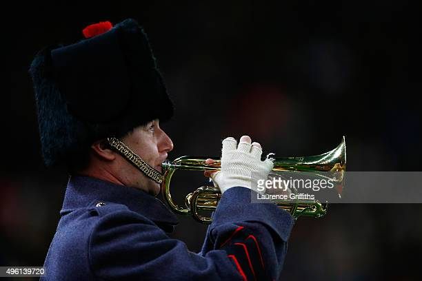 A trumpet is played to remember fallen members of the armed forces ahead of Remembrance Day prior to the Barclays Premier League match between Stoke...