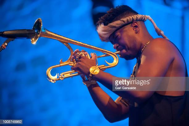 Trumpet player Christian Scott performs onstage with RR=Now band during 53rd edition of Heineken Jazzaldia Festival on July 26 2018 in San Sebastian...