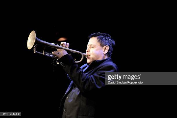 Trumpet player Guy Barker performs live on stage during the club's 50th birthday celebrations at Ronnie Scott's Jazz Club in Soho London on 29th...