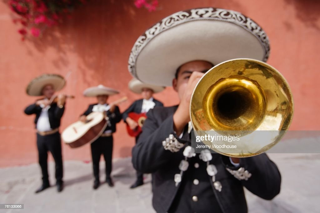 Trumpet player in Mariachi band : Stock Photo
