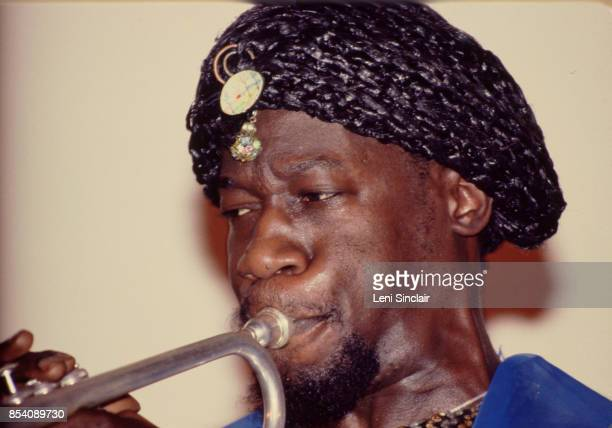 Trumpet player Michael Ray performs at the Detroit Jazz Center with the Sun Ra Arkestra on New Year's Eve in Detroit on December 31 1979
