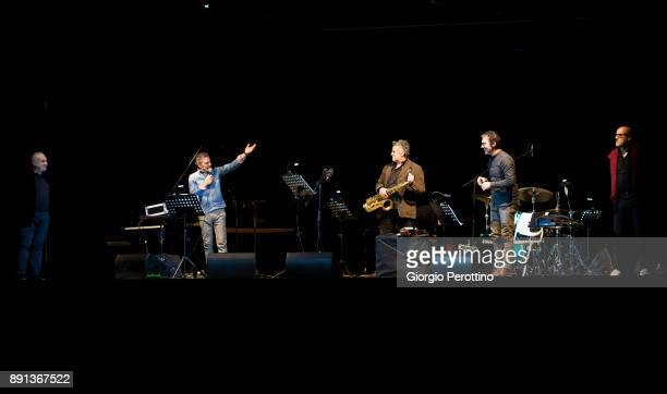 trumpet player Paolo Fresu plays with his jazz quintet during their concert at OGR Officine Grandi Riparazioni on December 8 2017 in Turin Italy
