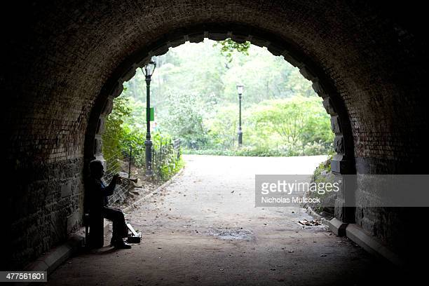 CONTENT] Trumpet player trumpeter tunnel central park spring light shadows silhouette