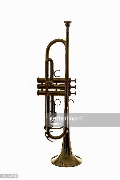 a trumpet, studio shot - trumpet stock photos and pictures