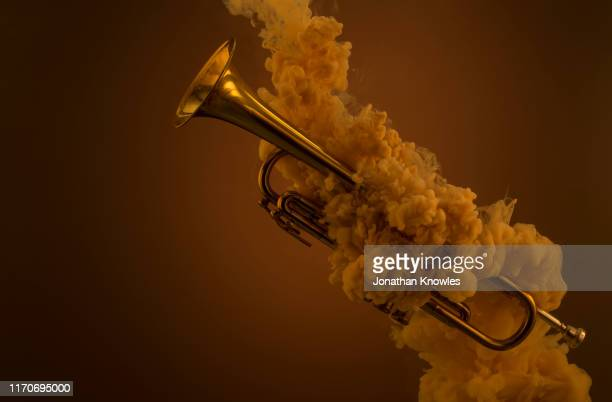 trumpet submerged in liquid with paint clouds - wind instrument stock pictures, royalty-free photos & images