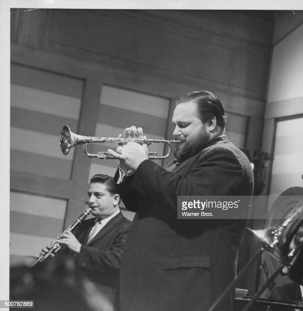 Trumpeter Al Hirt performing as himself on stage in a scene from the Delmer Daves movie 'Rome Adventure' 1962