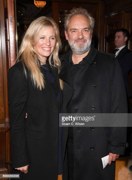 Trumpeter Alison Balsom and director Sam Mendes attends the opening night of 'Hamilton' at Victoria Palace Theatre on December 21 2017 in London...