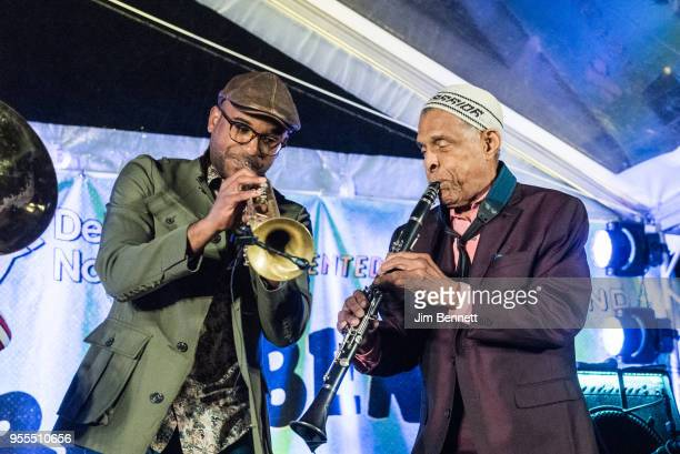 Trumpeter Branden Lewis and clarinetist Charlie Gabriel of Preservation Hall Jazz Band perform live on stage at Ray Benson's 67th birthday party...