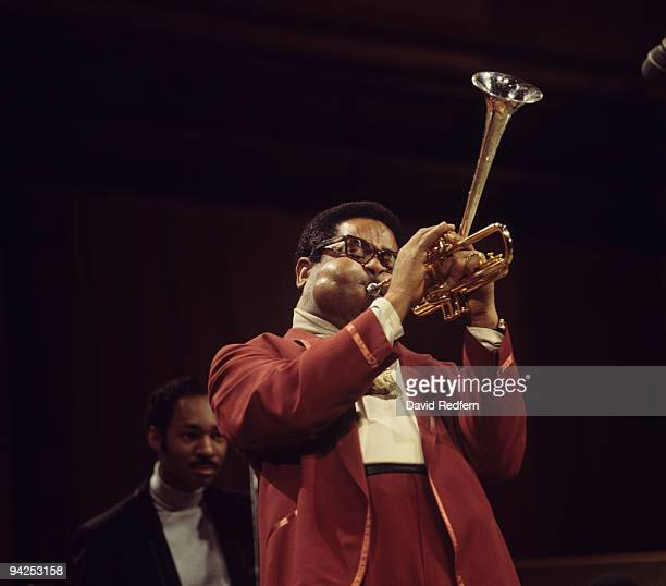 Trumpeter Dizzy Gillespie performs on the BBC television show 'Jazz at the Maltings' on November 21 1968
