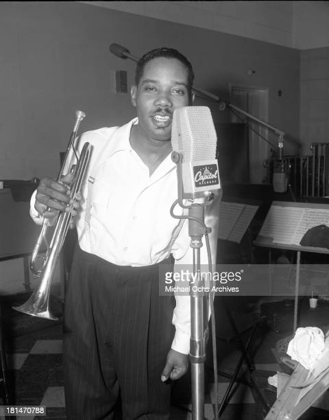 Trumpeter Gee Gee Smith records at a Capitol Records microphone with his trumpet on September 26 1946 in Los Angeles California