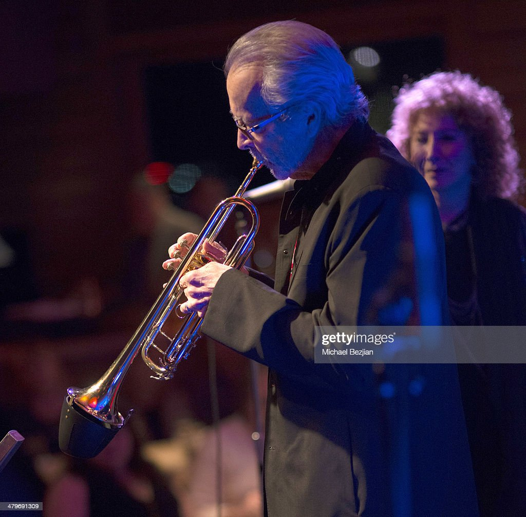 Trumpeter Herb Alpert and Singer Lani Hall perform at Herb Alpert And Lani Hall Performance At Vibrato Grill at Vibrato Grill Jazz on March 19, 2014 in Beverly Hills, California.