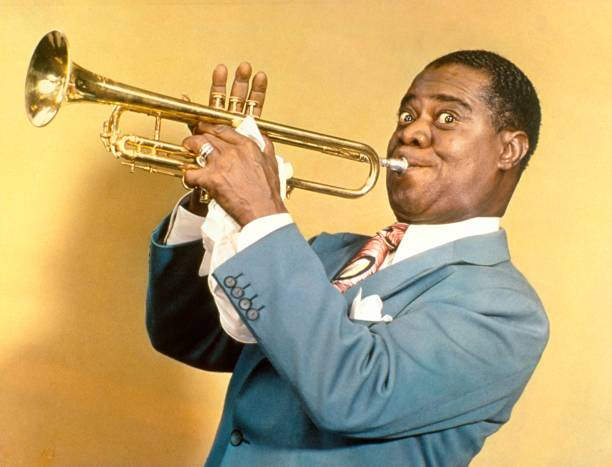 Trumpeter Louis Armstrong in the Daily News color studio.