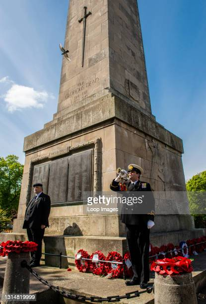 Trumpeter marks the beginning of two minutes of silence to honour the fallen in front of the War Memorial in the centre of Harrogate.