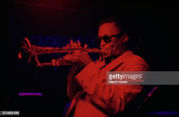 Trumpeter Miles Davis performing at jazz club Cafe Bohemia in New York City in 1956