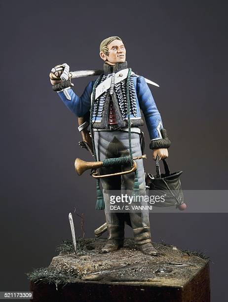 Trumpeter of the 1st Eclaireurs regiment of the Imperial guard 54 cm toy soldier from the Napoleonic era made by Danilo Cartacci France 19th century...