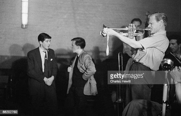 A trumpeter performs at Cy Laurie's Blue Heaven jazz club in Soho London 10th July 1954 Original publication Picture Post 7208 Blue Heaven In The...