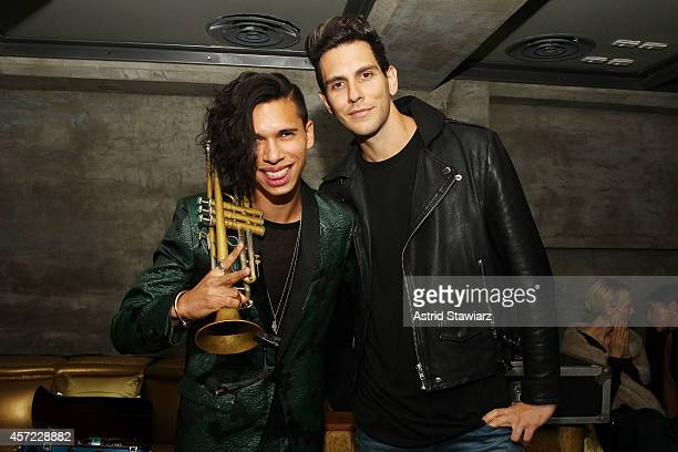 Trumpeter Spencer Ludwig of Capital Cities and musician Gabe Saporta of Cobra Starship attend Johnnie Walker's toast of the launch of Gold Label...