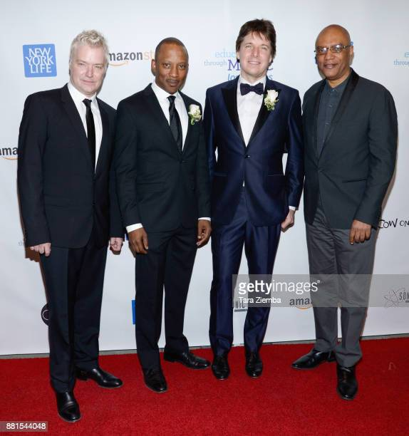 Trumpeter/composer Chris Botti music director Vincent Womack violinist Joshua Bell and pianist Billy Childs attend the Education Through Music Los...