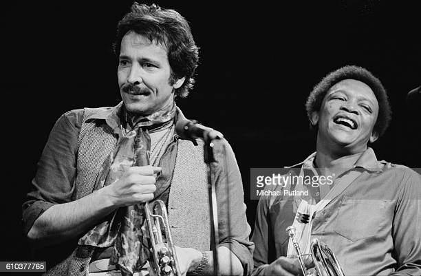 Trumpeters Herb Alpert and Hugh Masekela performing on stage USA May 1978 They released a collaborative album 'Herb Alpert/Hugh Masekela' in the same...