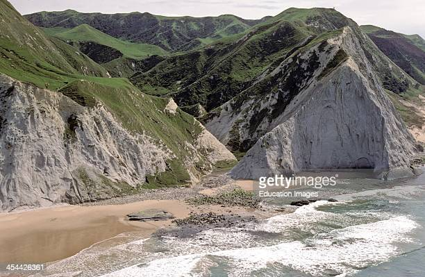 Truncated headland rivers have eroded to base level Aerial of Hawkes Bay south of Kidnappers New Zealand