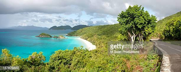 trunk bay seascape - paisajes de st johns fotografías e imágenes de stock
