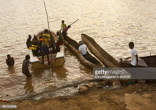 Trunk boats to cross the omo river omo valley omorate Ethiopia on March 16 2016 in Omorate Ethiopia