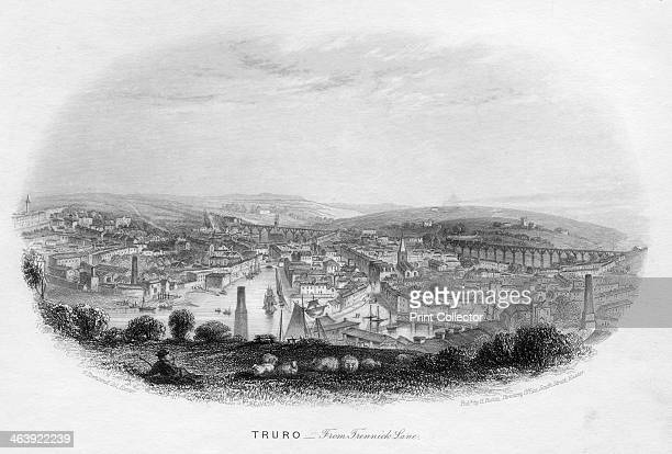 'Truro from Trennick Lane' 1860 The Cornwall Railway later part of the Great Western Railway at Truro showing one of Isambard Kingdom Brunel's timber...