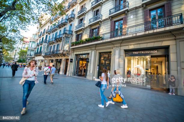 Trussardi shop Passeig de Gracia, shopping street in Barcelona, Spain