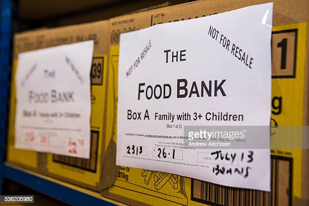 Trussell Trust Food Bank box for a family with three children waiting for distribution in the Wadebridge foodbank North Cornwall England United...