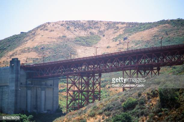 Trusses for roadway entering the Golden Gate Bridge on the North Bay side in the Marin Headlands viewed from Fort Baker Sausalito California July 19...