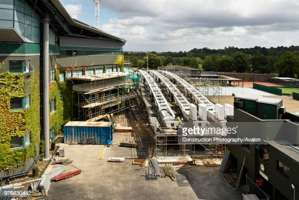 Trusses for the new Centre Court roof arranged ready for installation All England Lawn Tennis Club Wimbledon London UK 2008