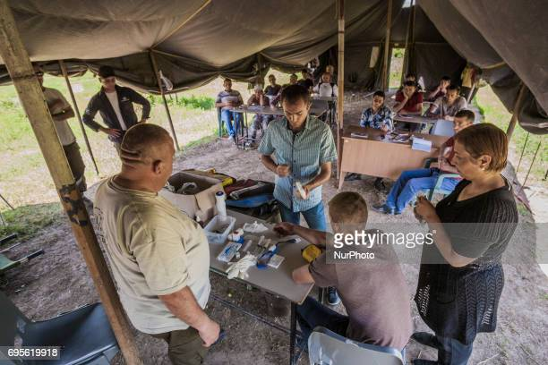 Trust organisation trains new team of deminers in first aid assistance in Stepanakert, Nagorno Karabakh, on 13 June 2017. Mines still remain after 25...
