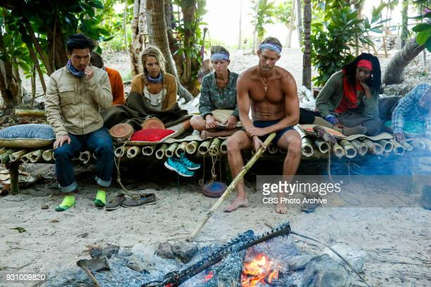 'Trust Your Gut' James Lim Libby Vincek Angela Perkins Chris Noble and Laurel Johnson on the fourth episode of Survivor Ghost Island airing Wednesday...