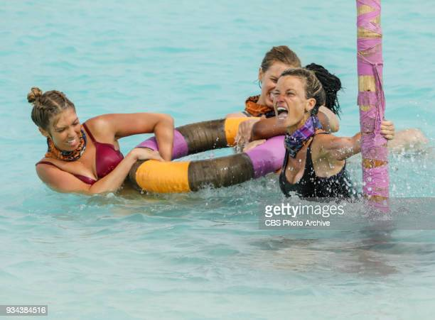 'Trust Your Gut' Jenna Bowman Kellyn Bechtold and Angela Perkins on the fourth episode of Survivor Ghost Island airing Wednesday March 14 on the CBS...