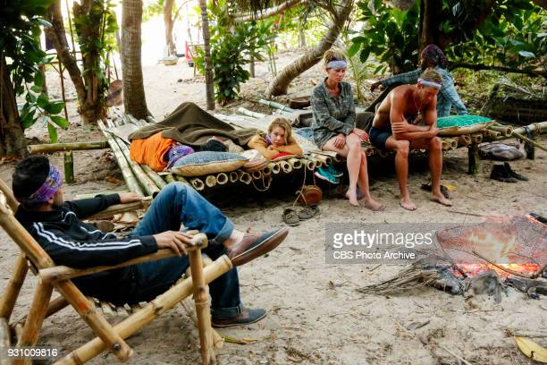 Trust Your Gut Libby Vincek Angela Perkins Chris Noble and Wendell Holland on the fourth episode of Survivor Ghost Island airing Wednesday March 14...