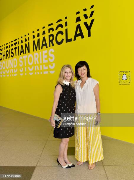 Trustee Allison Berg and LACMA Curator Christine Y Kim at the US premiere of Christian Marclay Sound Stories an immersive audiovisual exhibition...