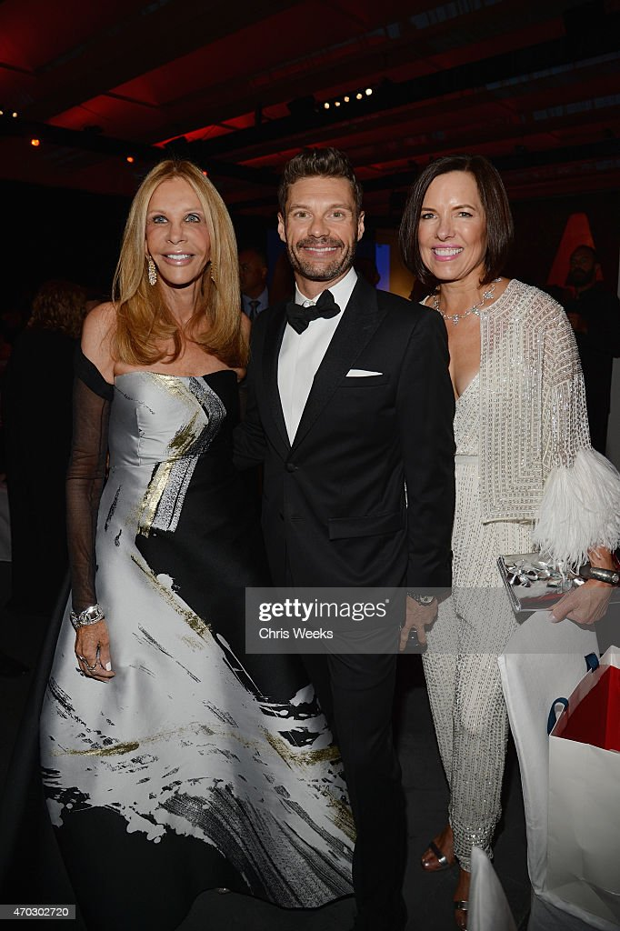 Trustee Jane Nathanson, LACMA Trustee Ryan Seacrest, and trustee Ann Colgin attend the LACMA 50th Anniversary Gala sponsored by Christie's at LACMA on April 18, 2015 in Los Angeles, California.