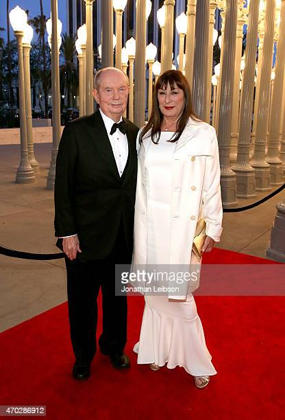 LACMA trustee Jerry Perenchio and actress Anjelica Huston attend the LACMA 50th Anniversary Gala sponsored by Christie's at LACMA on April 18 2015 in...