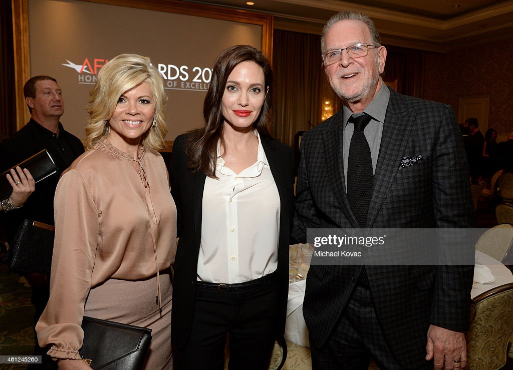 Trustee Leslie Miller, actress/director Angelina Jolie and AFI Trustee Rich Frank (L-R) attend the 15th Annual AFI Awards Luncheon at Four Seasons Hotel Los Angeles at Beverly Hills on January 9, 2015 in Beverly Hills, California.