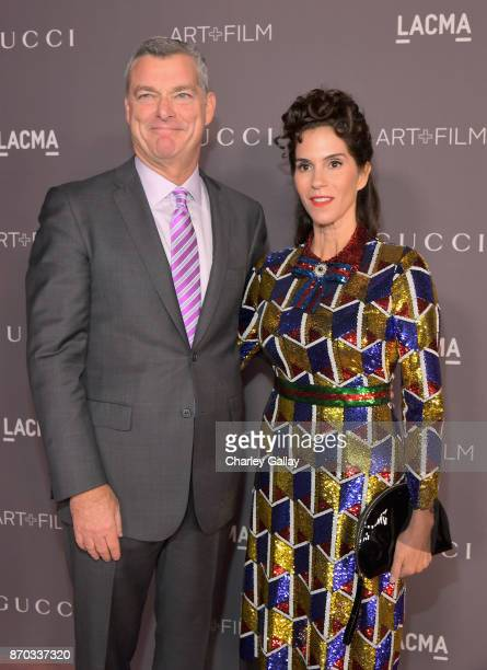 Trustee Tony Ressler and actor Jami Gertz attend the 2017 LACMA Art Film Gala Honoring Mark Bradford and George Lucas presented by Gucci at LACMA on...